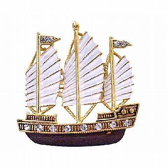 Handgemalt in weißen & Antik Braun & goldenen Segel Boot Brosche