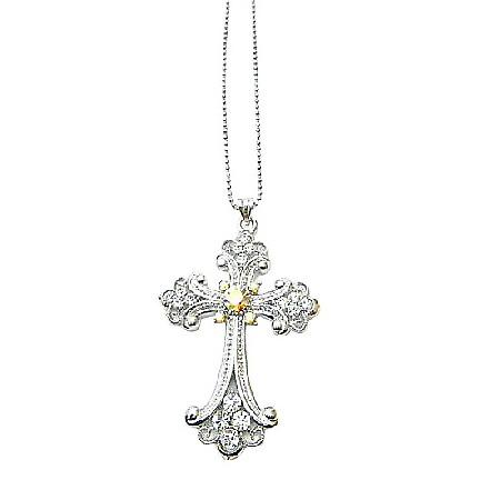 Crystals & Cubic Zircon Long Shimmering Cross Pendant Necklace
