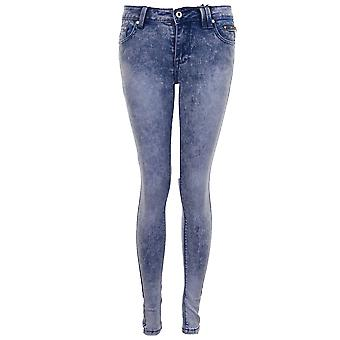 Ladies Bleached Faded Light Acid Wash Women's Denim Slim Skinny Fit Jeans