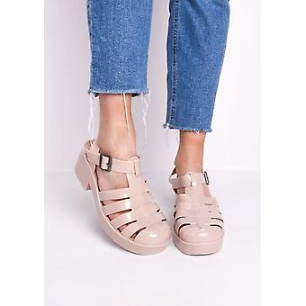 Cleated Block Heeled Jelly Sandals Nude Beige