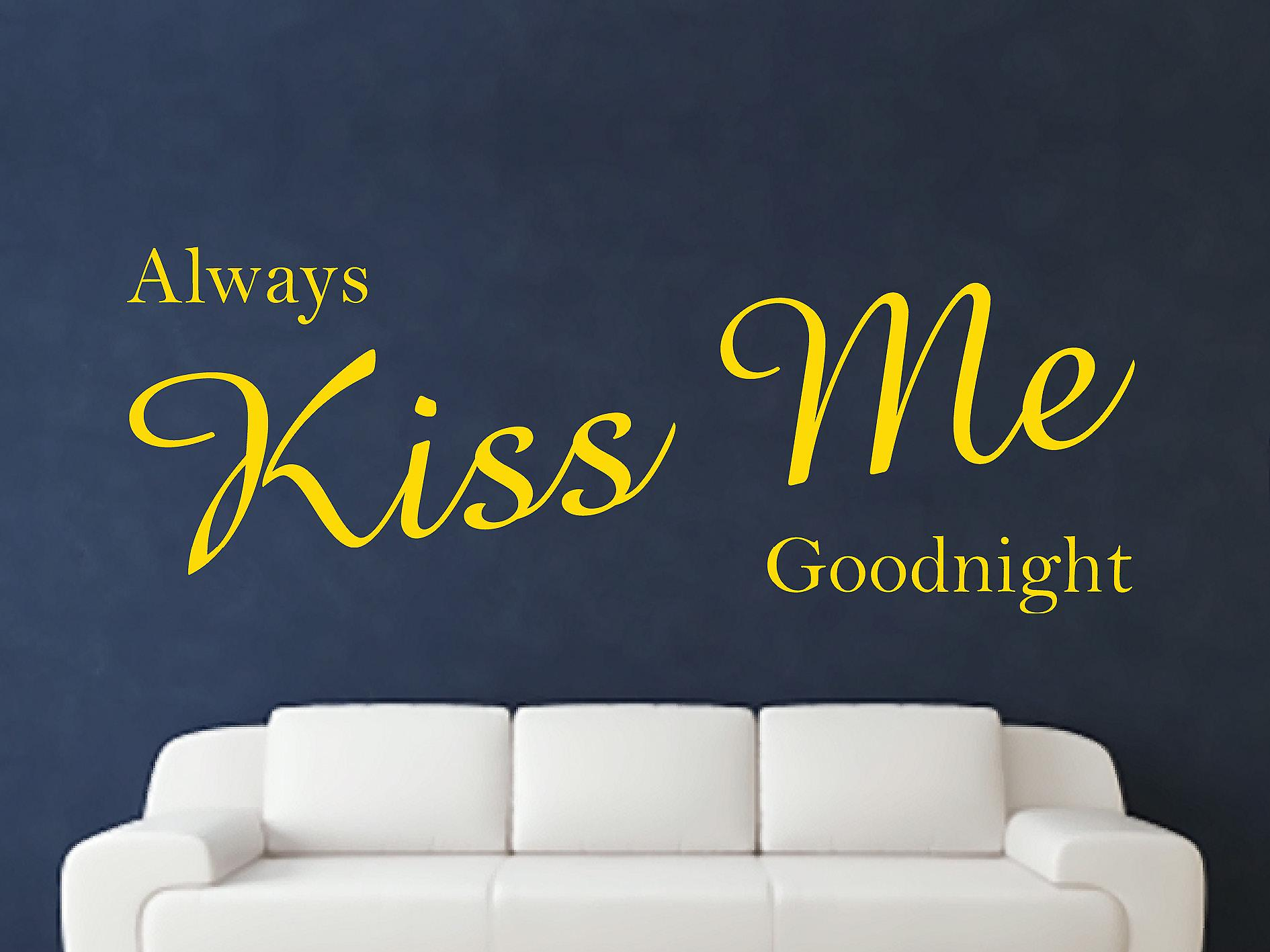 Always Kiss Me Goodnight Wall Art Sticker - Dark Yellow
