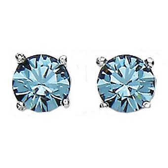 Bella 6mm Cubic Zirconia Stud Earrings - Silver/Blue