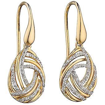 Elements Gold Swirl Drop Earrings - Yellow Gold/Silver