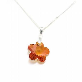 Toc Sterling Silver Copper Crystal Flower Pendant on 18 Inch Chain