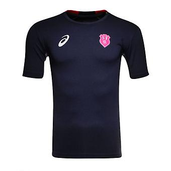 2015-2016 Stade Francais Home Asics Rugby formazione Tee (Navy)