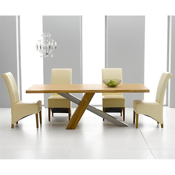 Mark Harris Montana 1.8 Oak Dining Set With 6 Cream Barcelona Chairs