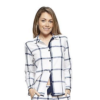 Cyberjammies 4215 Damen Emily White Mix Check Baumwolle Pyjama Top