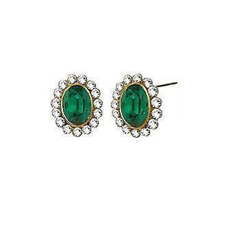 Wieczne kolekcji Majesty szmaragdowo zielony Crystal Gold Tone Stud kolczyki Kolczyki