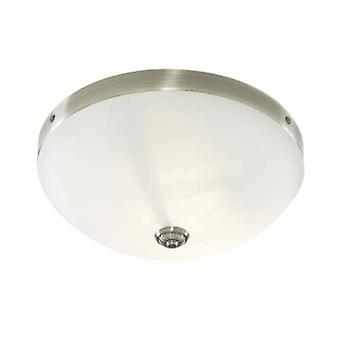 2 Light Flush Ceiling Light Antique Brass With Marble Glass