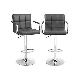 Set of 2 luxury artificial leather bar chairs-Adjustable in height