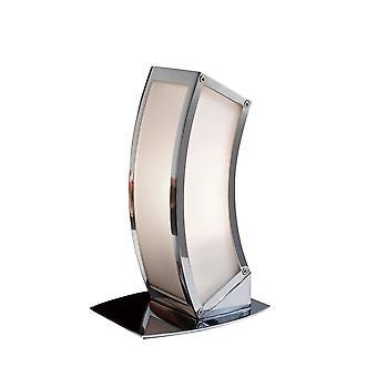 Mantra Duna E27 Table Lamp 1 Light E27, Polished Chrome/White Acrylic