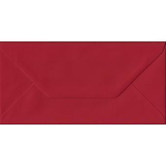 Scarlet Red Gummed DL Coloured Red Envelopes. 100gsm FSC Sustainable Paper. 110mm x 220mm. Banker Style Envelope.