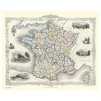 History Portal France 1851 Map John Tallis 1000 Piece Jigsaw 690mm x 480mm (jg)