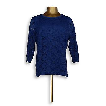Denim & Co. Women's Top 3/4 Sleeve With Lace Blue A276030