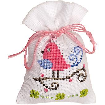Pink Bird Bag On Aida Counted Cross Stitch Kit-3.25