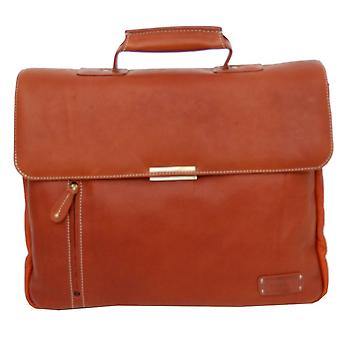 Cortez Leather Laptop Briefcase - Cognac