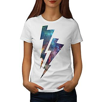 Lightning Strike Space Cosmos Women White T-shirt | Wellcoda