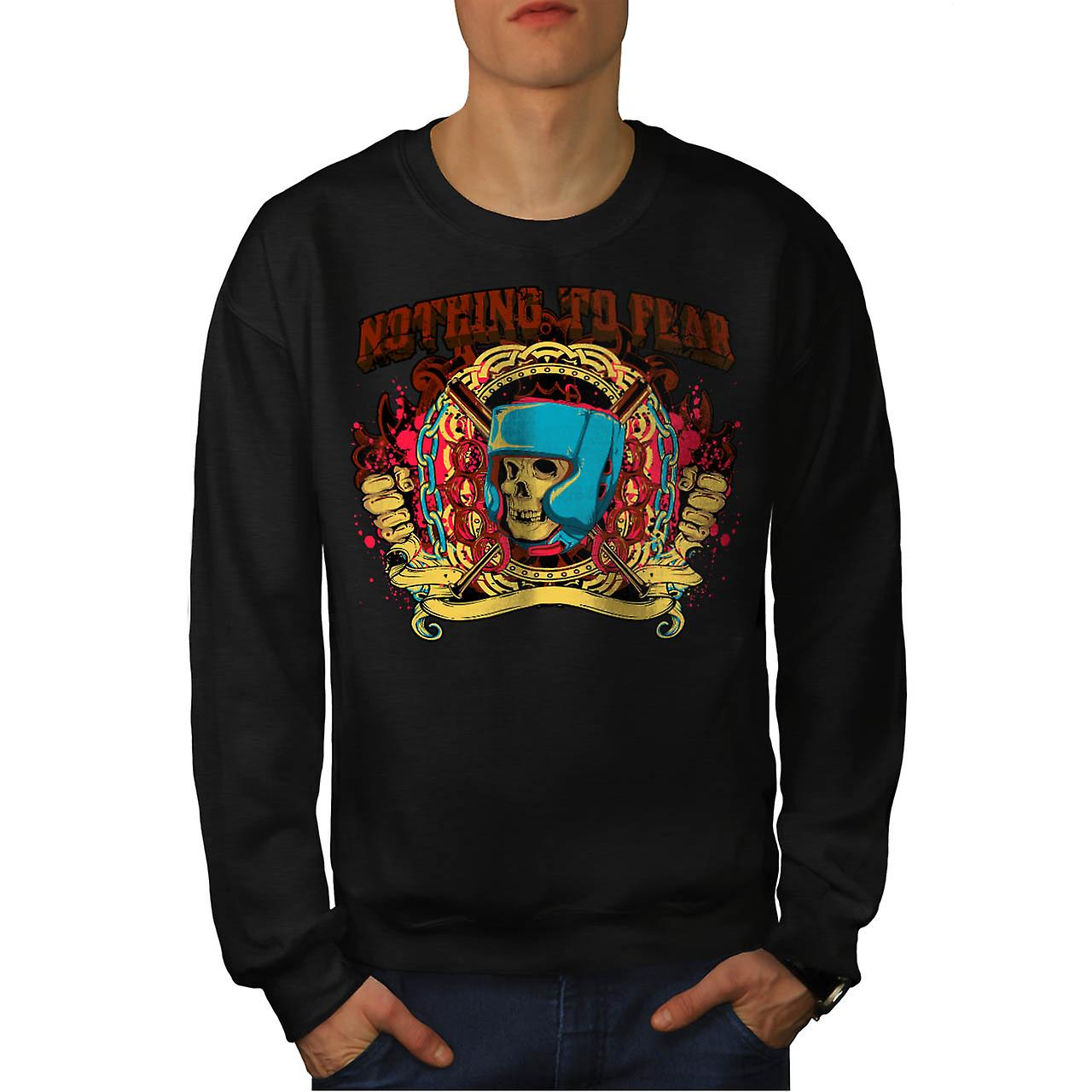 Nothing To Fear Boxer Brave Hit Men Black Sweatshirt | Wellcoda