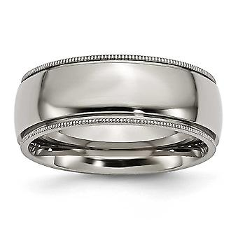 Titanium Engravable Grooved Beaded 8mm Polished Band Ring - Ring Size: 8 to 14