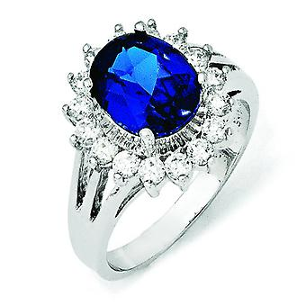 Sterling Silver CZ Synthetic Blue Spinel Ring - Ring Size: 6 to 8