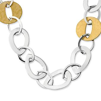 Stainless Steel Gold IP Plated Tear Drop and Circle Necklace - 24 Inch