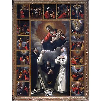 مادونا الوردية مع دومينيكو القديسين وكاترين من طباعة ملصق سيينا