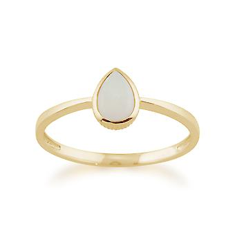 Gemondo 9ct Yellow Gold 0.25ct Pear Shaped Opal Framed Ring