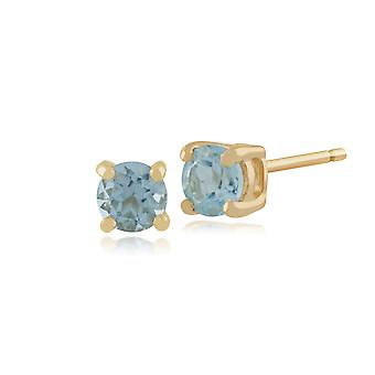 Gemondo Blue Topaz runde Stud Øreringe i 9 kt gul guld 3,50 mm klo sæt
