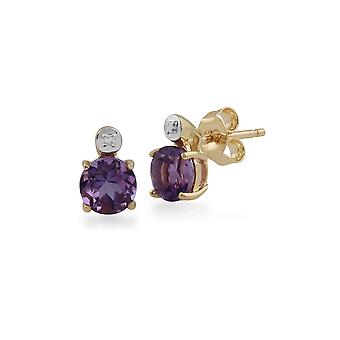 Gemondo 9ct Yellow Gold 0.91ct Amethyst & Diamond Round Stud Earrings