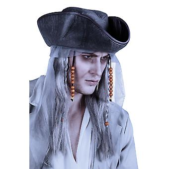 Halloween Ghost Pirate Long Grey Wig with Hat Fancy Dress Accessory