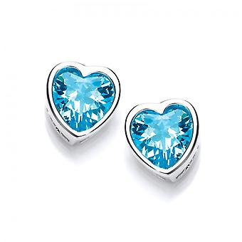 Cavendish French Take Heart Blue Topaz CZ Stud Earrings