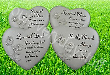 Memorial Grave Cemetery Heart Diamante Flowers Ornament Special Loved Funeral