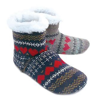 Ladies Fairisle Hearts Knitted Snugg Warm Fleece Lined Fluffy Slipper Boot