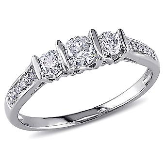 Three Stone Diamond Engagement Ring 1/2 Carat (ctw Color G-H , Clarity I2-I3) in 10K White Gold
