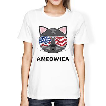 Ameowica Womens White Cat Design Tee Unique Design T-Shirt For Her
