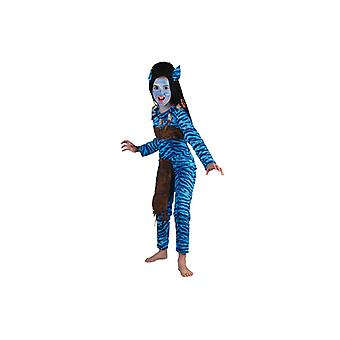 Warrior costume of blue jungle Elf costume girl