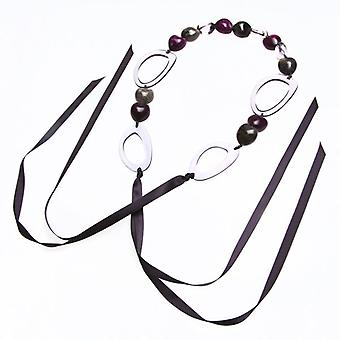 Camille Purple Bead And Grey Hoop Ribbon Necklace