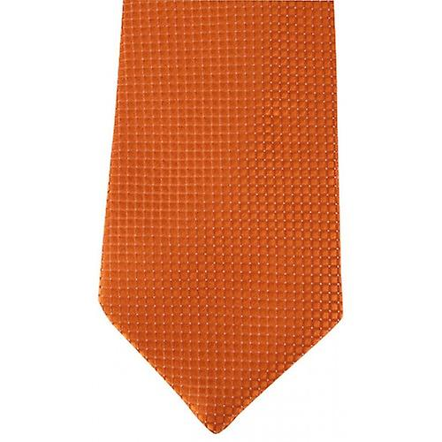 David Van Hagen Ribbed Squares Pin Dot Tie - Orange