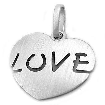 Heart pendant silver rhodium plated 925 sterling silver solid pendant heart LOVE