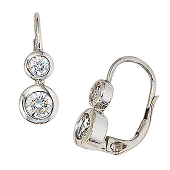 Earring earrings boutons, 333 / - white gold, 4 cubic zirconia, height approx. 15.4 mm, earring ladies