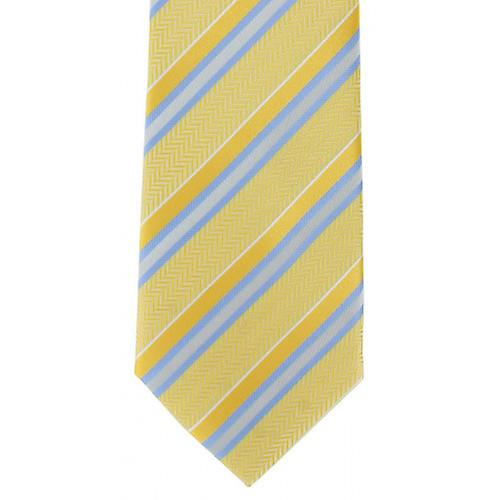 Michelsons of London Textured Stripe Polyester Tie - Yellow