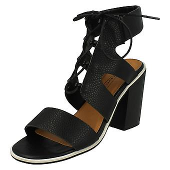 Ladies Spot On Ankle Cushion Block Heel Sandals F10540