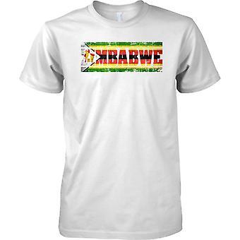 Zimbabwe Grunge Country Name Flag Effect - Mens T Shirt