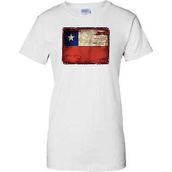 Chile Grunge Grunge Effect Flag - Ladies T Shirt