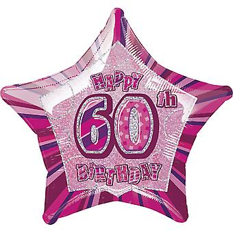 Unique Party Happy 60th Birthday Star Foil Balloon