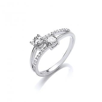 Cavendish French Silver and Cubic Zirconia Twin Solitaire Ring