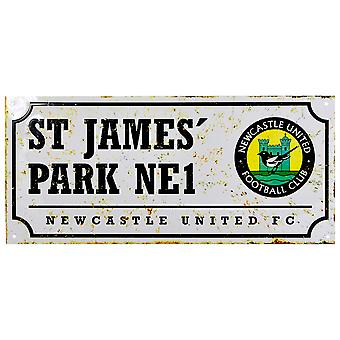 Newcastle United FC Official Retro Football Crest Street Sign
