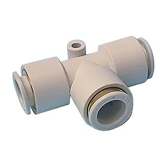 SMC Kq2 Pneumatic Tee Tube-To-Tube Adapter, Push In 6 Mm
