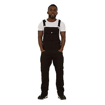 USKEES BILL Loose Fit Mens Dungarees - Black Bib overalls Roll-up Leg Fashion