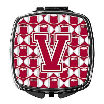 Letter V Football Crimson, grey and white Compact Mirror